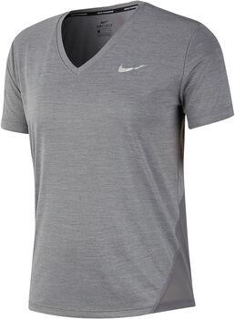 Nike Camiseta Manga Corta W NK MILER TOP VNECK mujer Gris