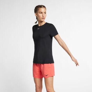 Nike Camiseta manga corta NP TOP ALL OVER MESH mujer Negro
