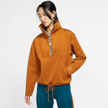 Nike Camiseta m/lW NP CROPPED MOCK NECK HZ mujer Naranja