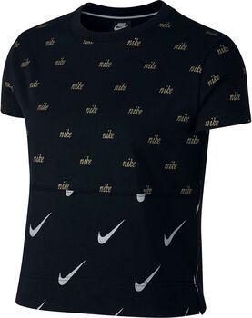 Nike Sportswear Top SS Metallic mujer Negro