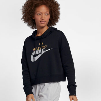 Nike Sportswear Rally Hoodie Metallic mujer Negro