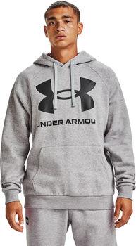 Under Armour Sudadera con capucha de tejido Fleece UA Rival Big Logo hombre Gris