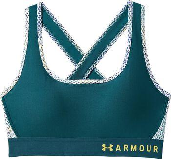 Under Armour Sujetador deportivo de impacto medio Armour® Crossback Print para mujer Verde