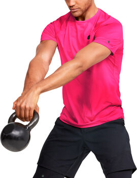 Under Armour Camiseta de manga corta con estampado UA RUSH™ HeatGear® Fitted para hombre Rosa