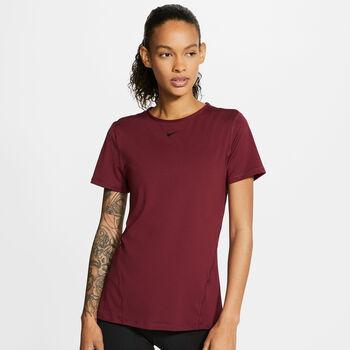 Nike Camiseta Manga Corta Pro All Over Mesh mujer Rojo
