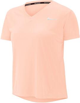 Nike Camiseta Manga Corta W NK MILER TOP VNECK mujer Rojo