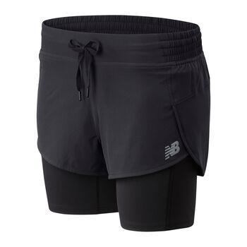 New Balance Pantalones cortos Impact Run 2in1 mujer Negro