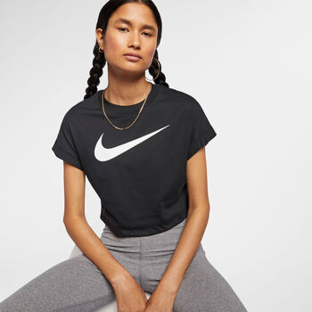 Nike W NSW SWSH TOP CROP SS mujer Negro