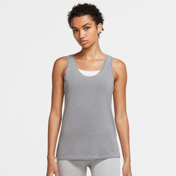 Nike Camiseta sin mangas Yoga Dri-FIT mujer Gris