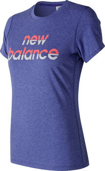 New Balance Camiseta Graphic Heather Tech Crew mujer