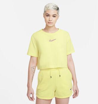 Nike Camiseta Manga Corta Crop Print mujer Amarillo